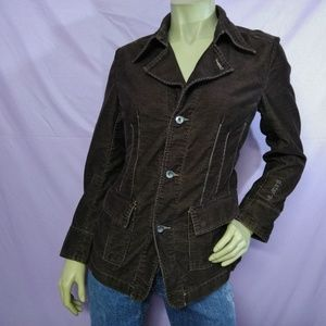 G Star Raw Button Down Jacket Brown Corduroy